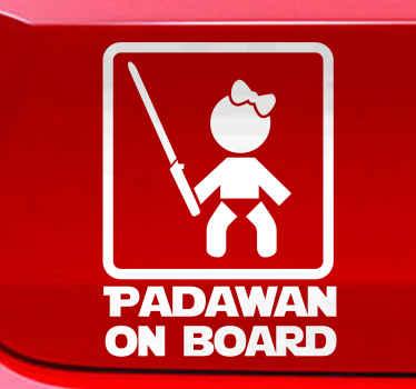 Aufkleber Auto Padawan on Board Mädchen