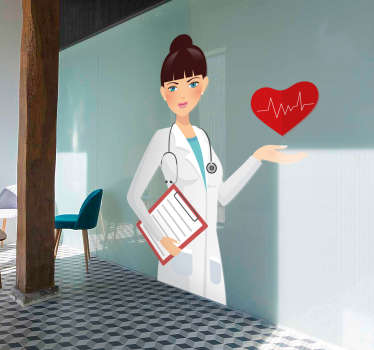 You could try to give your waiting room a more pleasant and friendly atmosphere with this medicine wall sticker showing an illustration of a nurse.
