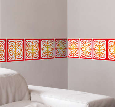 Decorative adhesive border wall decal of Celtic symbols . It is self adhesive, easy to apply and available in any required size.