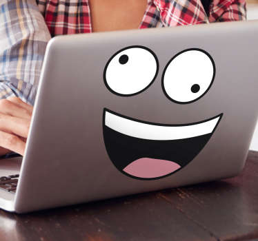 lustiger Aufkleber mit einem verrücktem Smiley. Perfekt um den Laptop aufzupeppen