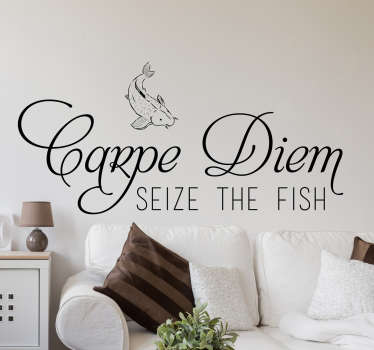 Vinilo decorativo vive el momento fish