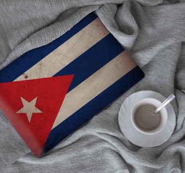 Decorative flag laptop vinyl sticker of  Cuba. This pretty country flag design is a nice decoration for any laptop and it is eaay to apply.