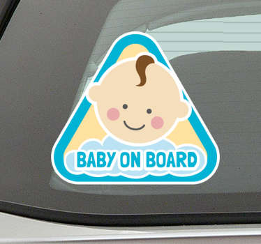 Did you recently welcome a baby boy into your family? Show everyone how proud you are of your baby with this cute baby on board sticker!