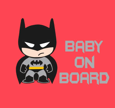 "Klistermærke ""baby on board"" - Fantastisk batman baby om bord sticker"