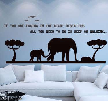 Adesivo sagoma elefante e frase