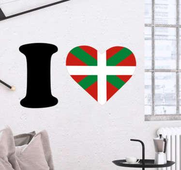 Montrez votre amour et fierté pour le pays basque avec ce sticker au design original de la phrase I love avec le drapeau en forme de cœur.