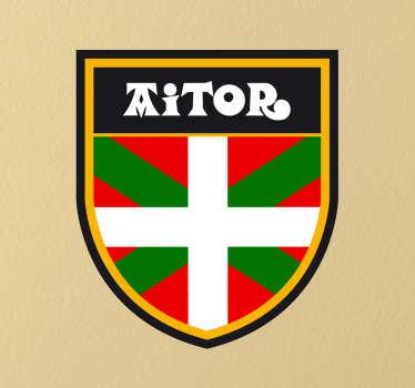 Vinilos de banderas con una representación del emblema nacional del País Vasco junto al nombre personalizable de tu ser querido en un bonito escudo.