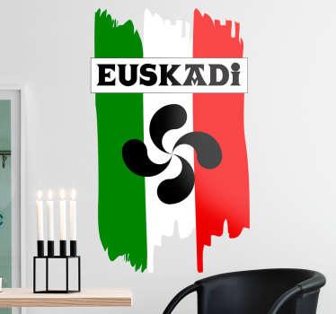 Vinilo Euskadi con una bonita representación de los colores de su emblema junto a un Lauburu y el nombre en vasco en una típica tipografía vasca.
