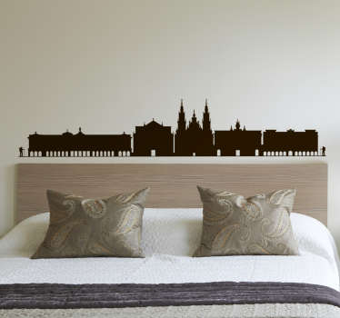 An amazing city skyline wall sticker of Santiago de Compostela. It is available in any size of choice and it comes in different colour option.