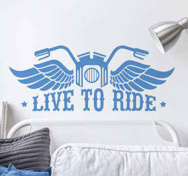 This motorbike vinyl is perfect for showing visitors to your home your passion for the hobby! Featuring some handlebars and angel wings