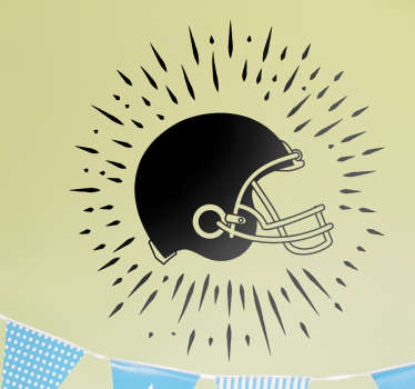 This decorative wall sticker featuring an original design of a shining american football helmet is ideal for all fans of the sport