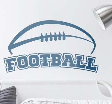 Adesivo murale palla rugby con scritta