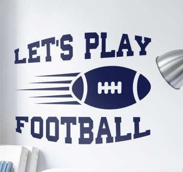 Adesivo murale palla rugby e scritta