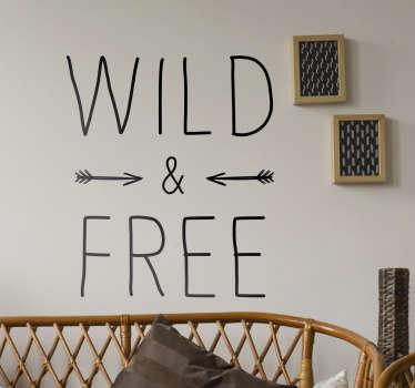 Wild and Free Text Sticker