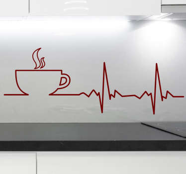 コーヒーハートビートウォールステッカー