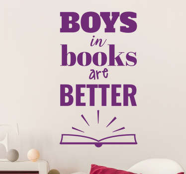 Boys in Books Text Wall Sticker