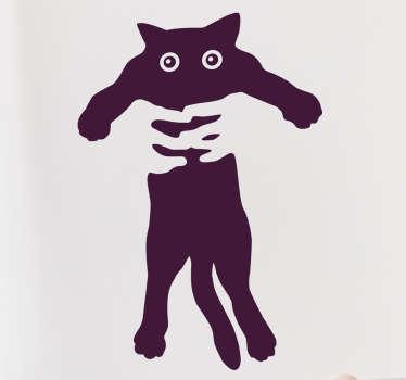 Vinilos de gatos para amantes de esta mascota, con un dibujo original en el que dos manos sujetan a este animal de compañía.