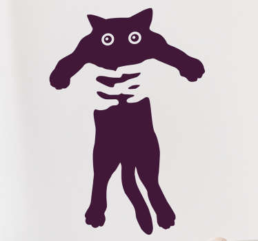 Wandtattoo hochgehobene Katze