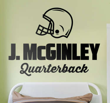 Klistermærke personaliseret navn quarterback