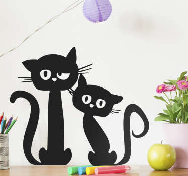 The black cats wall decal is perfect for our cat lovers out there. The silhouette style decal shows two cute black cats looking at you quizzically.