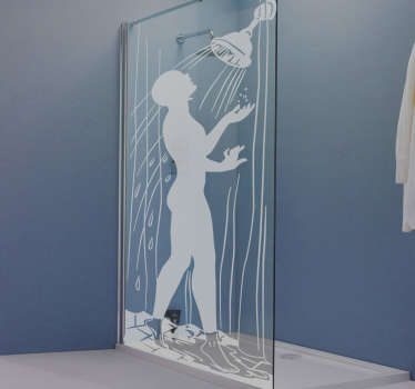Dieser Duschwandaufkleber mit duschender Person die in den Duschkopf schaut, können Sie super einfach Ihr Badezimmer verschönern.
