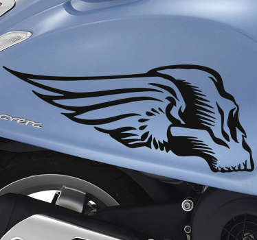 有翼摩托车车辆贴纸的头骨