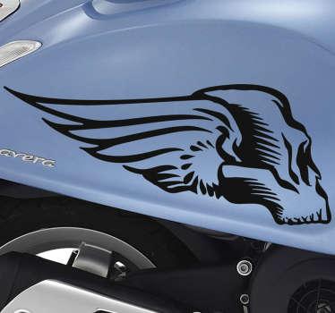 Lebka okřídlená pro nálepku motocyklu