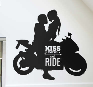 klistermærke moto kiss me and ride
