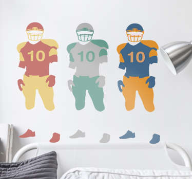 This decorative wall sticker featuring an original design of a couple of football players in different colours..