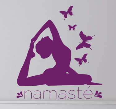 adesivo silhouette yoga namasté farfalle