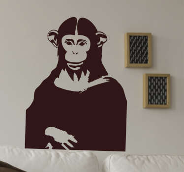This funny wall sticker and quirky take on the world famous painting by Leonardo DaVinci, the Mona Lisa, shows her mysterious human smile replaced