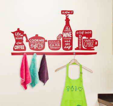 This wall sticker for the kitchen shows many different kitchen utensils such as a coffee pot and a food processor. Can be used with a coat hanger!
