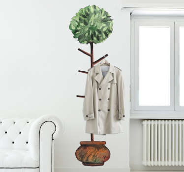 Decorative coat hanger wall sticker that creates the illusion of the branches of a plant being perfect for putting your clothes on Easy to apply!