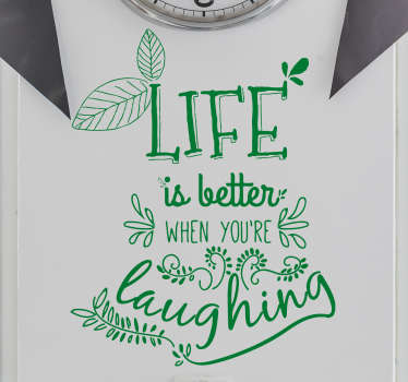 Decorative motivational quote wall sticker featured with the  text quote ''beautiful life of laughing''. It is available in any required size.