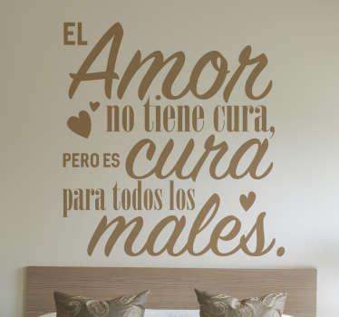 Vinilos de texto con diseño exclusivo de frases bonitas y románticas, ideales para decorar las paredes de la habitación de matrimonio.