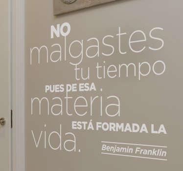 Vinilo frases sabias Benjamin Franklin