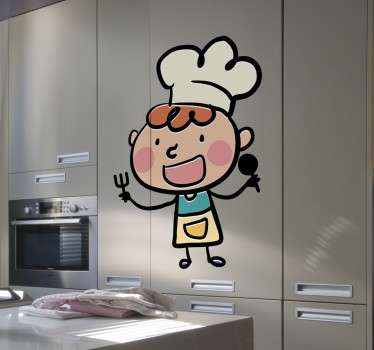 행복한 만화 요리사 벽 스티커
