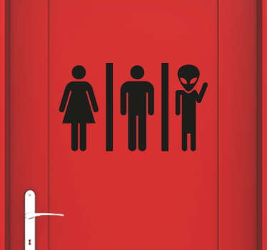 Alien toilet sign sticker to show your guests where the bathroom is in a fun and unique way in your home or business. This durable door sticker is available in various sizes and 50 different colours.