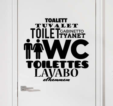"WC Stickers - Original and unique design for a home or business showing the word ""toilet"" in several different languages."