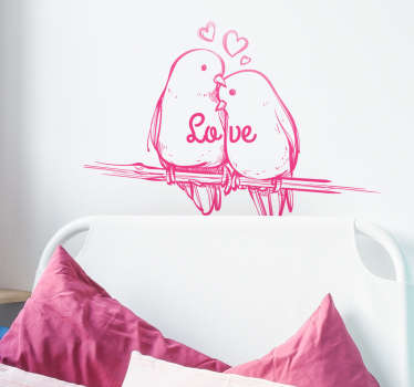 Sticker dessin oiseaux love