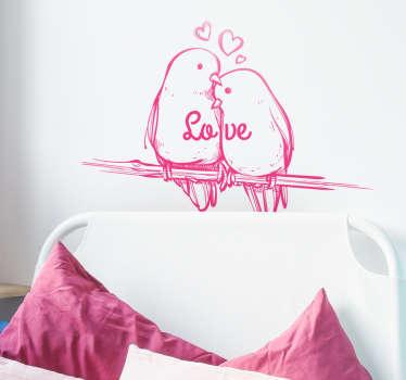 Vinil para cabeceira Love pássaros