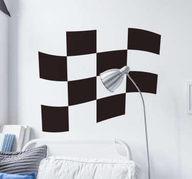 바둑판 무늬 레이싱 깃발 벽 스티커