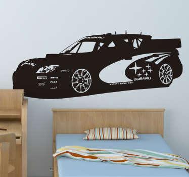 Sticker avec la représentation d'une voiture de rallye Subaru.