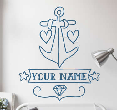 Decorative wall art sticker with a ship anchor design. It is customisable in any name of choice. It also comes in different colours and size options.