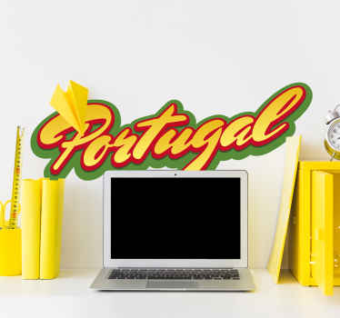 Sticker texte Portugal couleurs drapeau