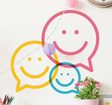 Brighten up the mood in any room with this colourful and bright design! Featuring three happy faces in the shape of speech bubbles!