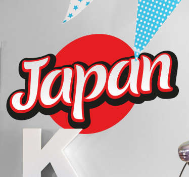 Adhesivo bandera de Japón lettering