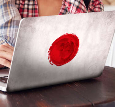 Decorate and protect your laptop in an original way with this laptop sticker. The decorative sticker consists of a painted national flag of Japan.