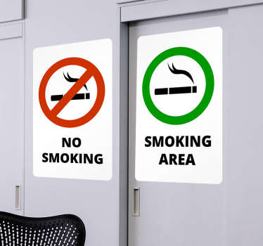 "Come take a look at our great and strict text wall stickers that say ""no smoking"" and ""smoking area"". They leave zero residue upon removal."