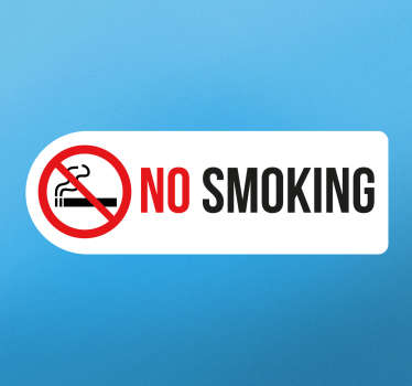 "If you require your space to be smoke free, this ""no smoking"" sticker is ideal for your shop/restaurant/business! Featuring a scored out lit cigarette"